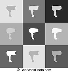 Hair Dryer sign. Vector. Grayscale version of Popart-style icon.