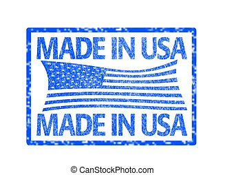 Made in USA stamp - grunge rubber stamp with the flag of the...