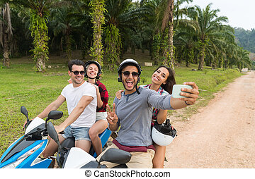 Two Couple Riding Motorbike, Man And Woman Taking Selfie...