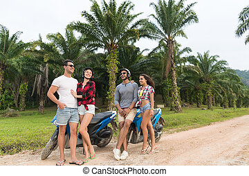Two Couple Sitting Motorbike, Young Man And Woman Travel On...