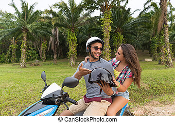 Couple Riding Motorbike, Young Man And Woman Travel On Bike...