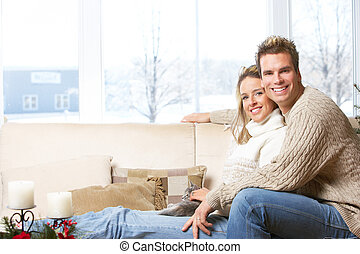 Love couple - Young couple in love at home