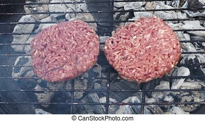 BBQ with hamburgers - BBQ gill with hamburgers - preparing...