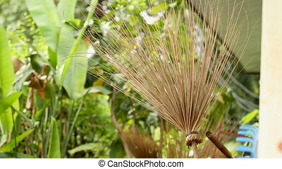 Broom made from natural branches. Garden tools - broom,...