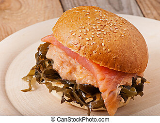 Fish sandwich with sea kale and fish caviar with saltfish.