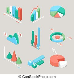 Chart and Graphs Statistics Elements. Finance Analysis. Business Analytics. Vector flat 3d illustration