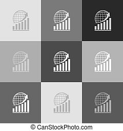 Growing graph with earth. Vector. Grayscale version of Popart-style icon.