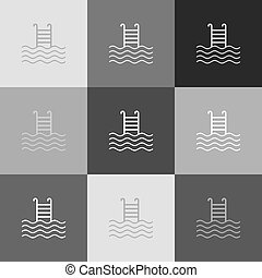 Swimming Pool sign. Vector. Grayscale version of Popart-style icon.