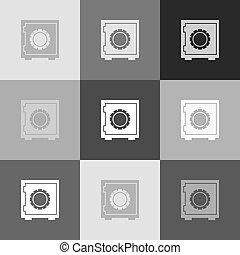 Safe sign illustration, crib, vault, lock box. Vector. Grayscale version of Popart-style icon.