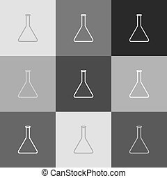 Conical Flask sign. Laboratory glass sign. Vector. Grayscale...