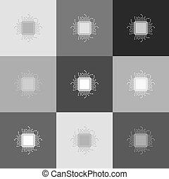 CPU Microprocessor illustration. Vector. Grayscale version...