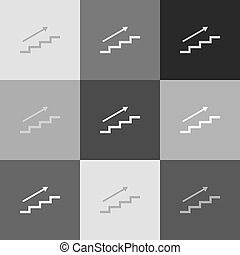 Stair with arrow. Vector. Grayscale version of Popart-style icon.
