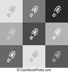 Footprint boot sign. Vector. Grayscale version of...