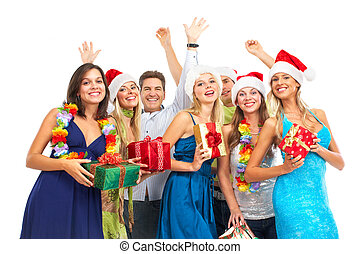 Christmass party. Happy young people. Over white background