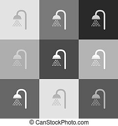 Shower sign. Vector. Grayscale version of Popart-style icon.