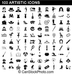 100 artistic icons set, simple style - 100 artistic icons...
