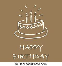 Birthday cake card on brown background