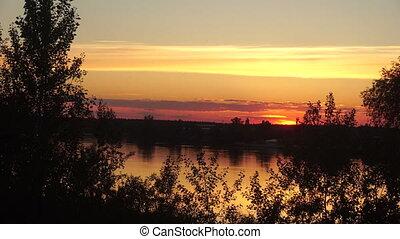 beautiful warm sunset at the Lake