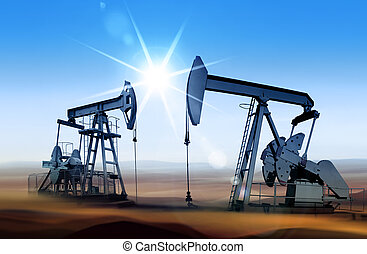 oil pumps at sunset - Working oil pumps in desert place of...