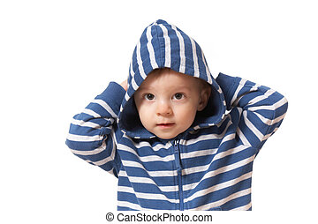 baby in hood with hands up