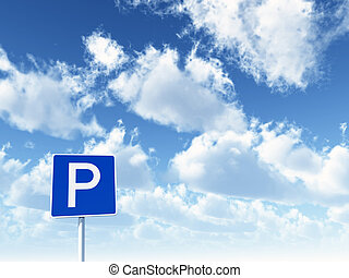 roadsign parking - parking allowed - roadsign under cloudy...