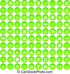 100 offence icons set green circle isolated on white...