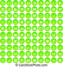 Conjunto, iconos,  musical, verde, círculo, educación,  100