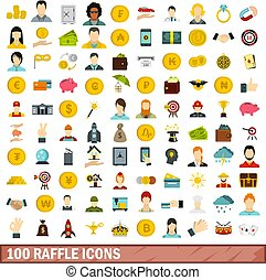 100 raffle icons set, flat style - 100 raffle icons set in...