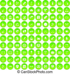 100 meeting icons set green circle