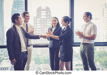 Business handshake and business people. Business executives to congratulate the joint business agreement.