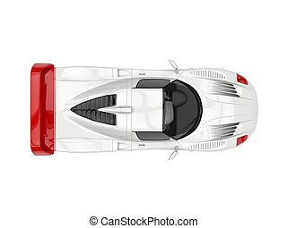 White concept super car with red decals - top view
