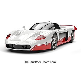 White concept super car with red details - studio shot
