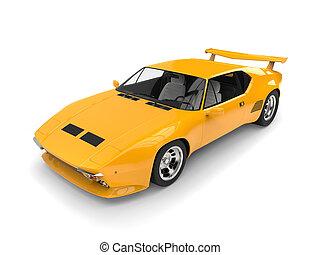Yellow vintage concept race car - top view studio shot