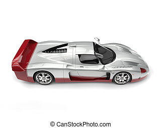 Silver concept supercar with cherry red decals