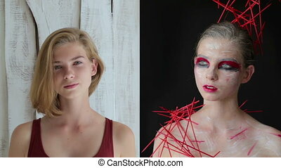 Teen girl before and after creative makeup - Make up and...