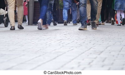 Crowd Anonymous People Walking on the Street. Crowd Feet -...