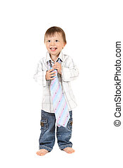 smiling baby in shirt with necktie