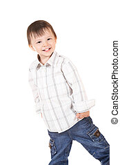 smiling baby in shirt and jeans
