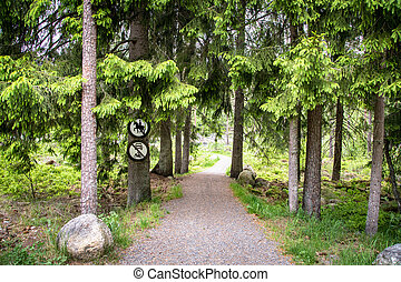 Road in forest with a no riding sign and a no vehicles sign