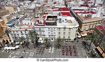 Cadiz Square Spain - Aerial view of Cadiz Square on a sunny...