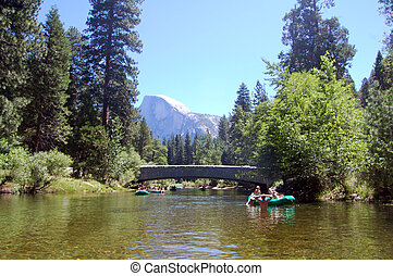 rafting in yosemite - rafting on merced river, yosemite
