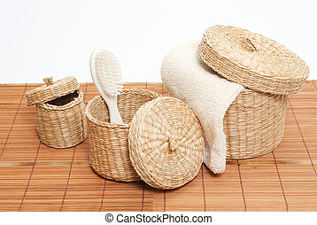 woven baskets with bath accessories