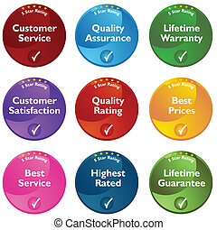 Five Star Rating Buttons - An image of 5 star rating...