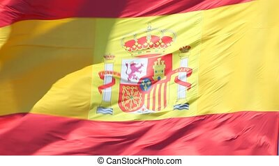 Spanish national flag waving in the wind