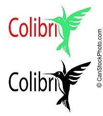 logotipo, vuelo, Colibrí