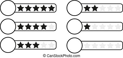 Black and white (monochrome) star rating bar with white...