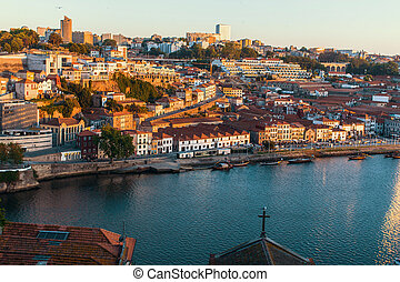 Bird's-eye view of the Douro river and waterfront Vila Nova...