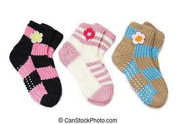 three pair of woolen socks