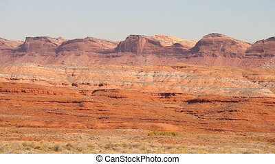 Monument Valley Near Red Mesa Utah Route 163 - Pan accross a...
