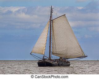 Flatbottom brown fleet sailing boat - Traditional dutch...